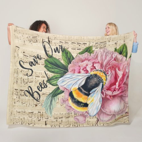 Music For Bees Pink Peony Fleece Blanket