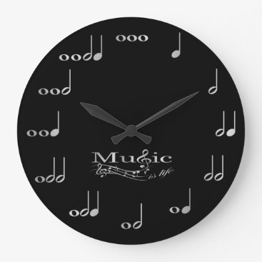 Music Notes - Music is Life Large Clock