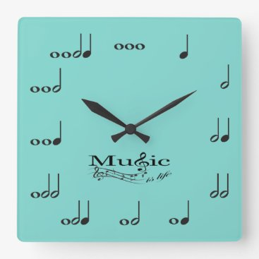 Music Notes with Music is Life saying Square Wall Clock