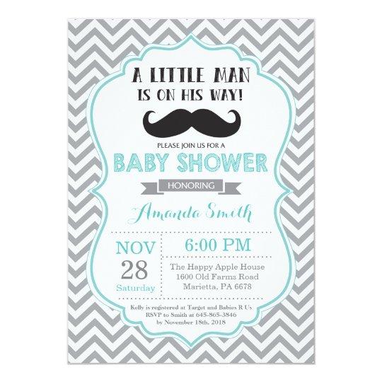 Mustache Baby Shower Invitation Aqua And Gray