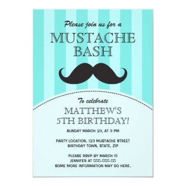 Mustache bash birthday party invitation, aqua card