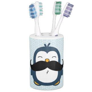 Mustache Penguin Bathroom Set