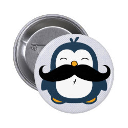 Mustache Penguin Button