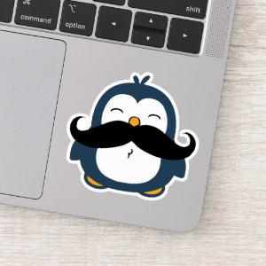 Mustache Penguin Contour Cut Sticker