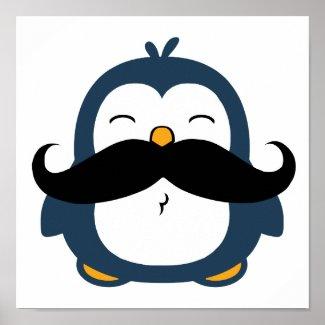 Mustache Penguin Poster