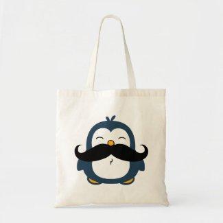 Mustache Penguin Tote Bag