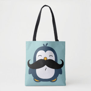 Mustache Penguin Tote Bag