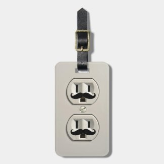 Mustache power outlet bag tag