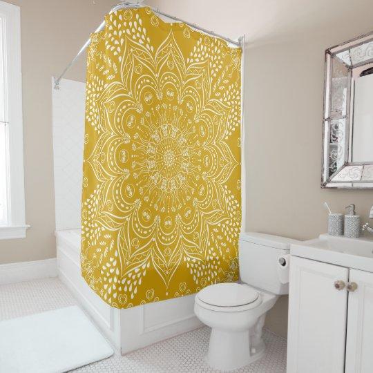 mustard yellow mandala boho shower curtain zazzle com