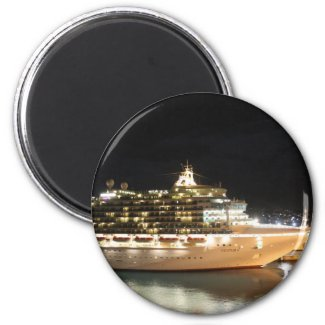 MV Ventura Cruise Ship at Night Fridge Magnet