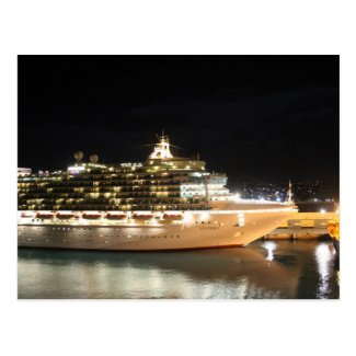MV Ventura Cruise Ship at Night Post Cards