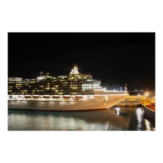 MV Ventura Cruise Ship at Night Posters