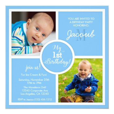 My 1st Birthday (first) -Sky Blue Squares & photo Invitation