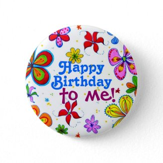My Birthday Illustrated Pin/Button button