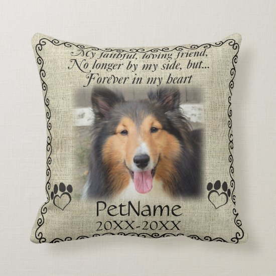 My Faithful Friend Pet Sympathy Custom Burlap Throw Pillow