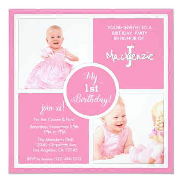 My First Birthday (1st) - Pretty in Pink baby girl Invitation