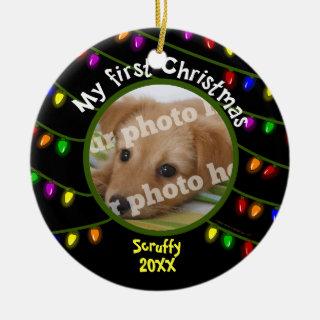 My First Christmas Custom Pet Photo Fun Lights Ceramic Ornament