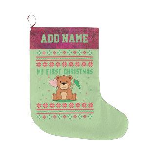 My First Christmas Ugly Xmas Sweater Teddy Bear Large Christmas Stocking