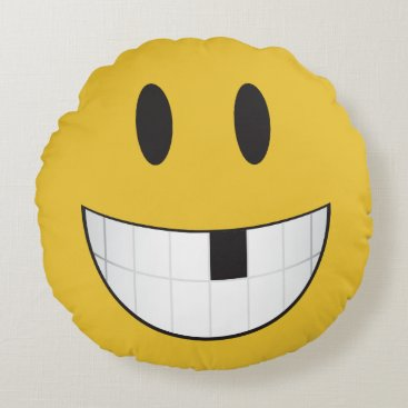 my first loose tooth emoji round pillow