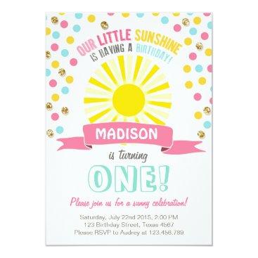 My sunshine Little sunshine birthday invitation