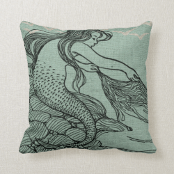 Mythical Young Mermaid Aqua Blue Sea Shore Scene Throw Pillows