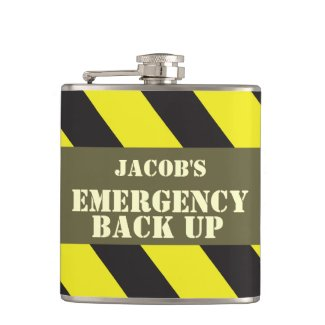 Named emergency back up chevron mens hip flask