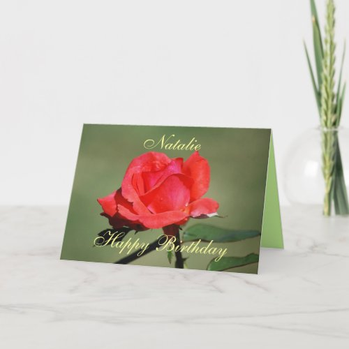 Natalie Happy Birthday Scarlet Rose Card card
