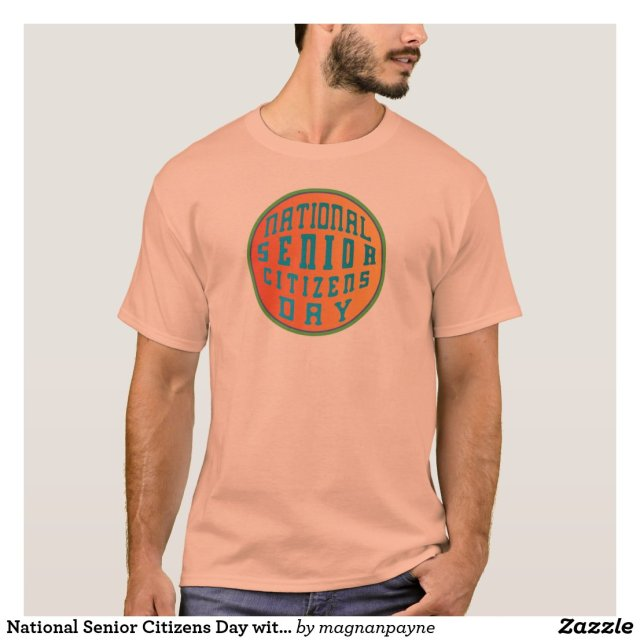 National Senior Citizens Day with Green Border T-Shirt