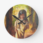 Native American Girl Round Wallclock