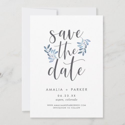 Natural Foliage | Modern Blue Botanical Save The Date