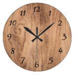 Natural Light Brown Wood Grain Accent Large Clock