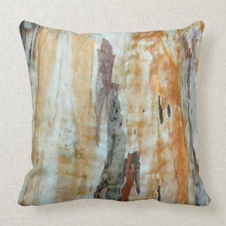 Natural tree bark colorful orange and gray picture throw pillow
