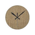 Natural Woven Beige Burlap Sack Cloth Round Clock