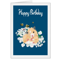 Nature Art Birthday Card - Funny Hamster