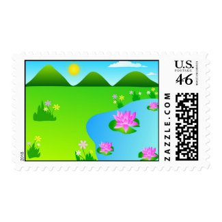 Nature landscape stamp