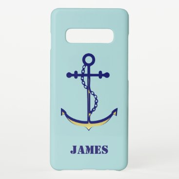 Nautical Anchor and Chain Navy and Gold with Name Samsung Galaxy S10  Case