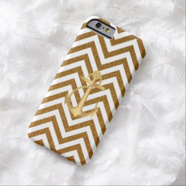 Nautical Anchor Gold Chevron Stripes iPhone 6 case