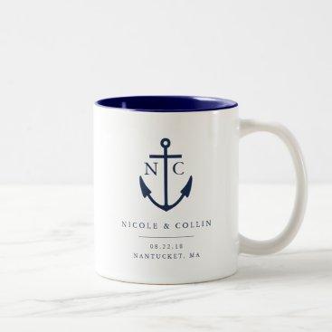 Nautical Anchor Monogram Wedding Favor Two-Tone Coffee Mug