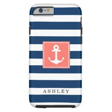 Nautical Anchor Navy Stripes Pattern Monogram Name Tough iPhone 6 Case