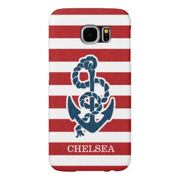 Nautical Anchor Stripe Pattern and Name Samsung Galaxy S6 Case