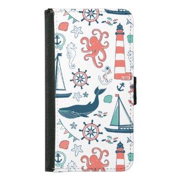 Nautical Animals And Symbols Pattern Samsung Galaxy S5 Wallet Case