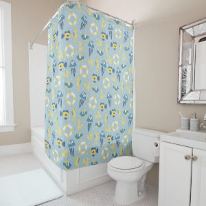 Nautical Aquatic Design Shower Curtain