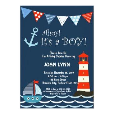 Nautical Baby Shower Invitation, Ahoy It's A Boy! Invitation