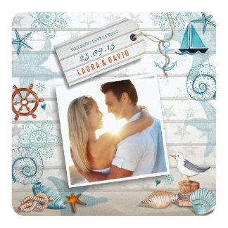 Nautical Beach   Wedding Photo Invitation