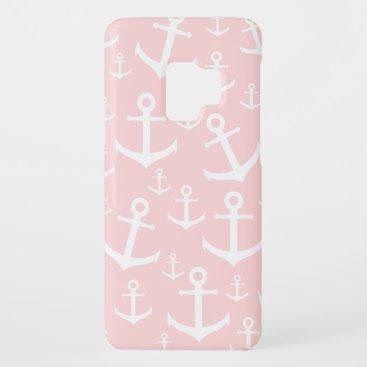 Nautical blush pink & white anchor pattern Case-Mate samsung galaxy s9 case