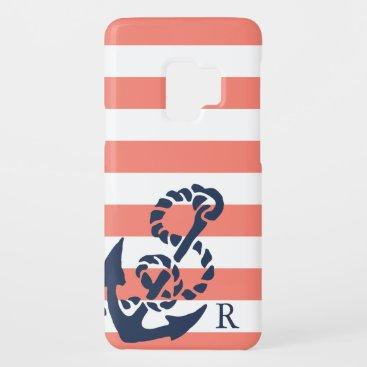 Nautical Coral Stripe & Navy Anchor Monogram Case-Mate Samsung Galaxy S9 Case