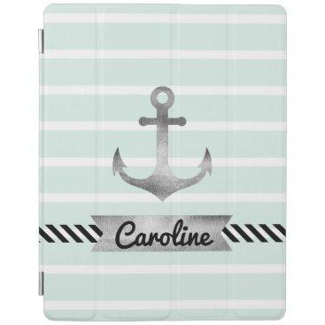 Nautical Mint Green Stripes Watercolor Anchor iPad Smart Cover