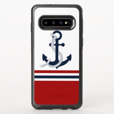 Nautical Navy Blue Anchor Blue White Red Stripes OtterBox Symmetry Samsung Galaxy S10 Case