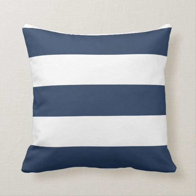 Nautical Navy Blue And White Striped Pillow Zazzle