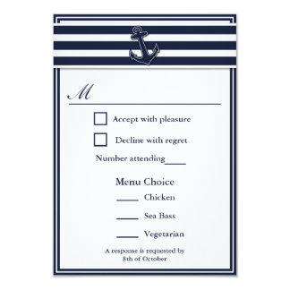 Nautical Navy Blue Swallows Rsvp 3 Menu Choice Card